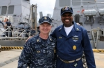CMDCM Smith with the Master Chief Petty Officer of the Navy- MCPON Rick West, during his visit to ARLEIGH BURKE. Anthony
