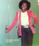 In 1974 Antionette stands outside of here home room class of Ms. Chloe Dekle; Room #219