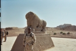 Ronald Drayton c/o 1978 in front of the Lion of Bablyon Iraq 2003