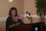 carolspencerbailey preparing to speak and a purple house event...Submitted by Carol Spencer Bailey c/o 1974