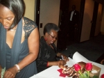 Sharon Lewis Jackson & Antionette James Deloach holding down the 'Registration Table'....The 1st Richard Arnold Alumni